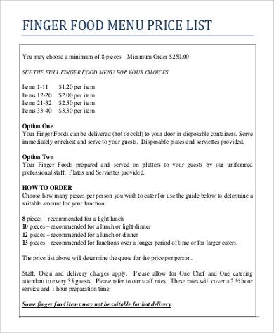 food menu price list example