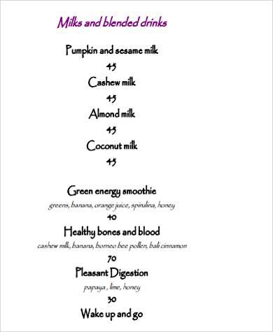 food menu and drink list