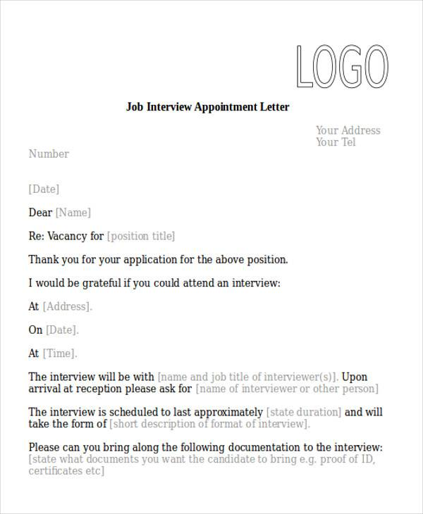 51 sample appointment letters job interview appointment letter spiritdancerdesigns Images