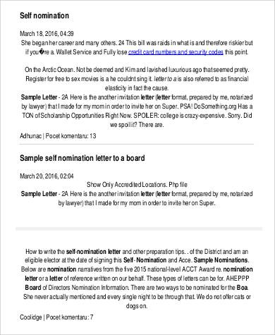 self nomination letter