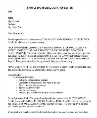 102 letter format samples sample templates sponsor solicitation letter spiritdancerdesigns Images