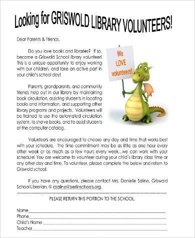 volunteer letter for parents