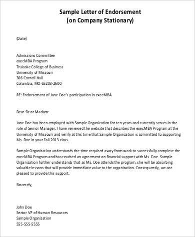 company endorsement letter