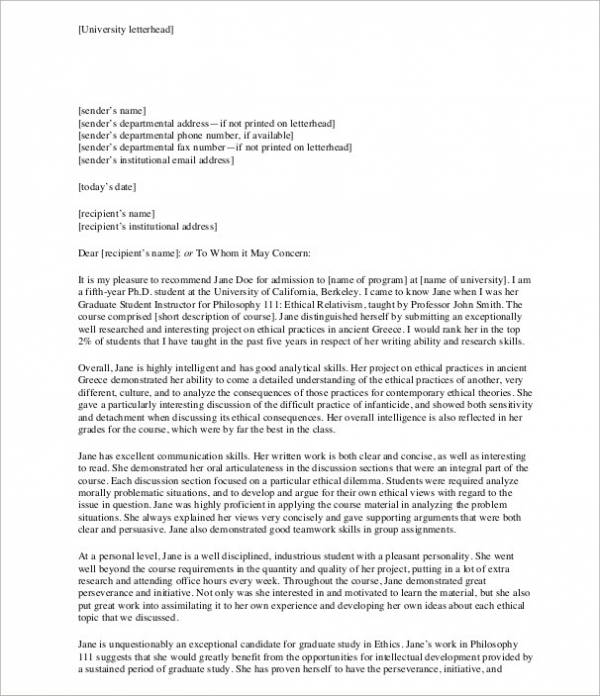 university recommendation letter for student