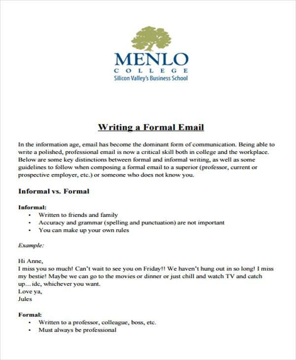 Sample Formal Letter Format   Examples In Pdf Word