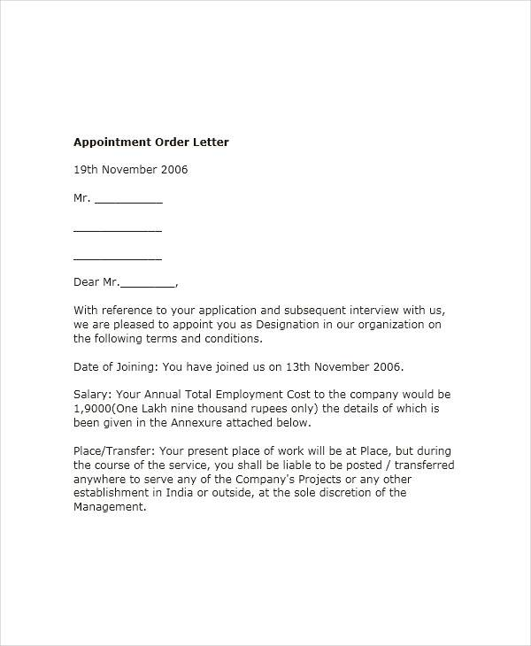 51 Sample Appointment Letters