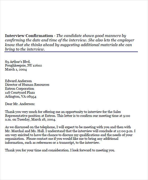interview appointment confirmation letter