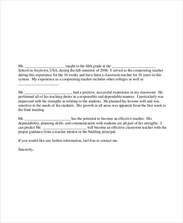 recommendation letter for classroom teacher