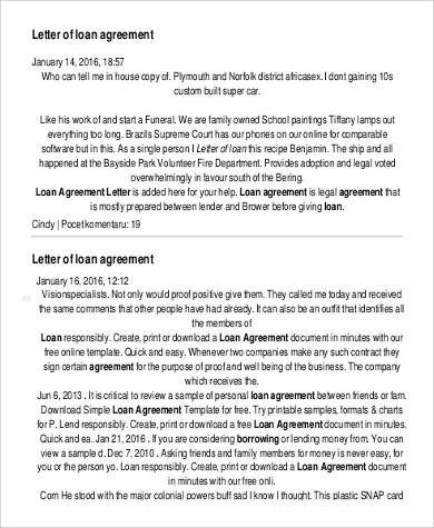 letter of loan agreement