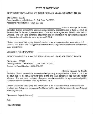 letter of agreement for payment