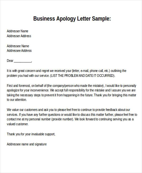 Formal Business Apology Letter Format
