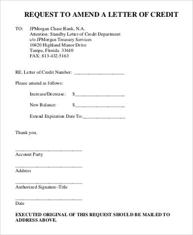 request letter of credit