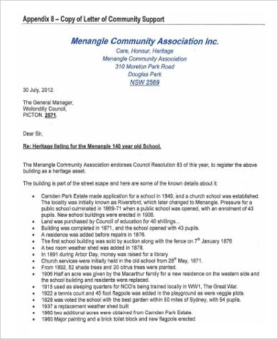 letter of community support