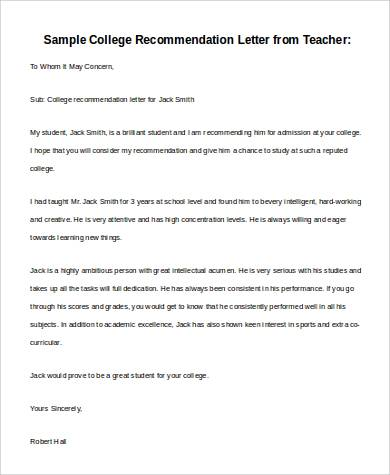 Basic Letter Of Recommendation Samples    Download Free