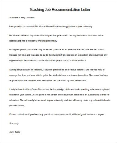 Teacher Job Recommendation Letter  Basic Reference Letter