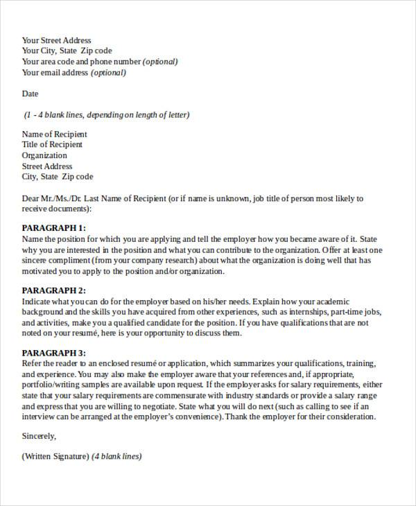 Personal Business Cover Letter Format