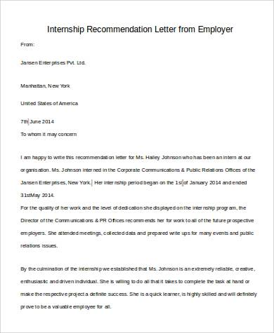 internship recommendation letter from employer