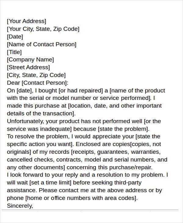 customer complaint business letter1
