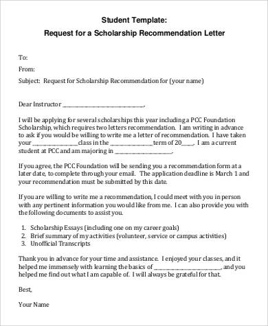 scholarship recommendation letter for student