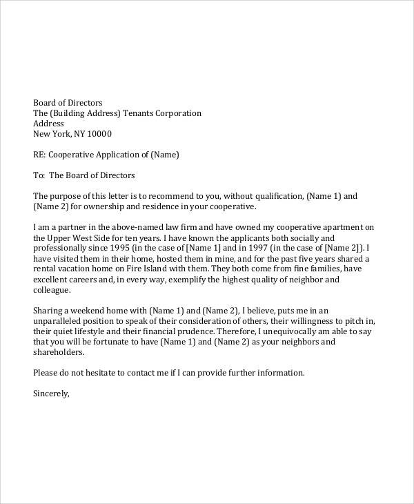 personal recommendation letter for tenant