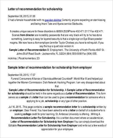 sample scholarship recommendation letter from employer