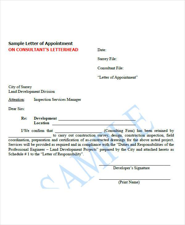 Appointment Letter For A Consultant Sample
