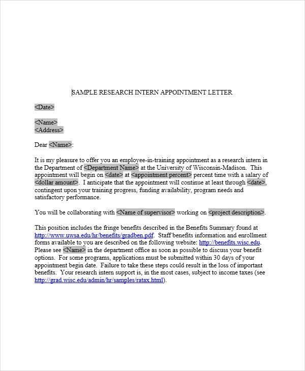 research intern appointment letter