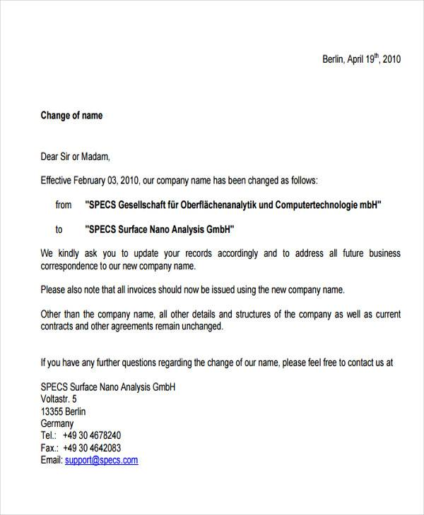 Business Name Change Letter Sample Business Letters Sample Business