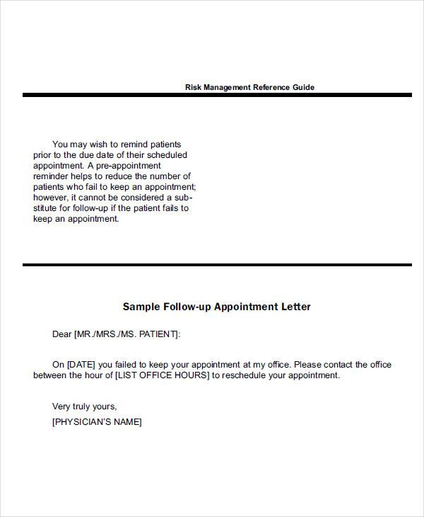 doctor followup appointment letter