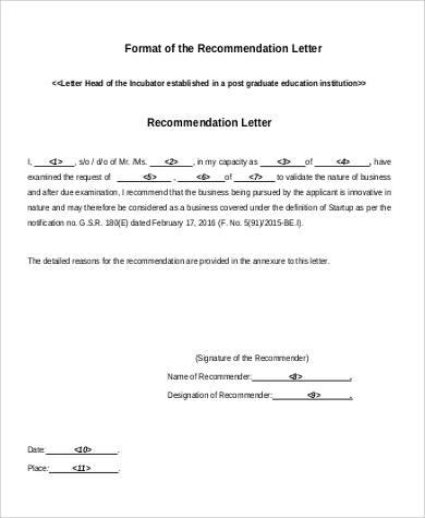 recommendation letter format1
