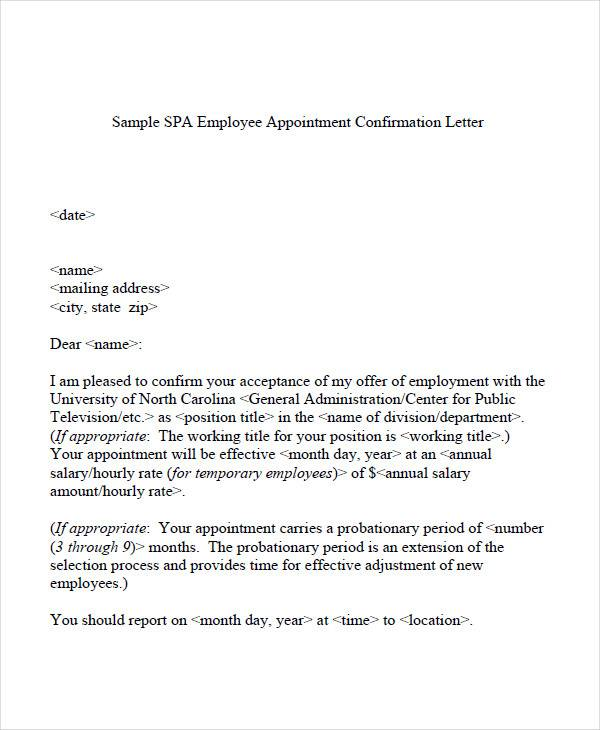 Employee-Appointment-Confirmation-Letter  Day Probation Letter Template on blank letter template, background check letter template, financial aid letter template, conservatorship letter template, adoption letter template, bail letter template, proof of insurance letter template, finance letter template, cover letter letter template, probationary letter template, community service completion letter template, workplace letter template, whistleblower letter template, board of directors letter template, drama letter template, criminal letter template, letter dd template, expulsion letter template, professional letter template,