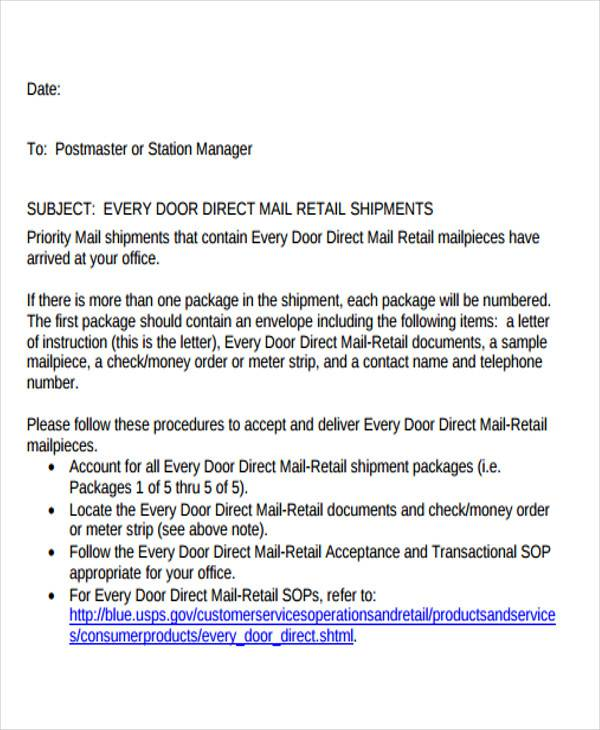 post office business letter