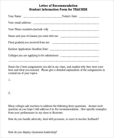 teacher recommendation letter for student format