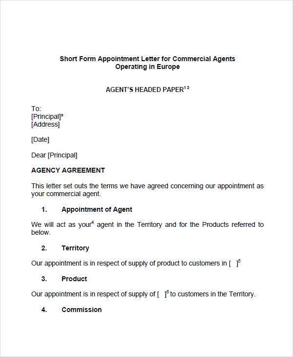 letter appointing an agent 51 sample appointment letters sample templates 9981