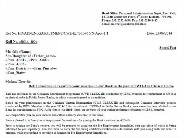bank clerk appointment letter