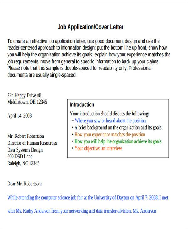 formal job application letter