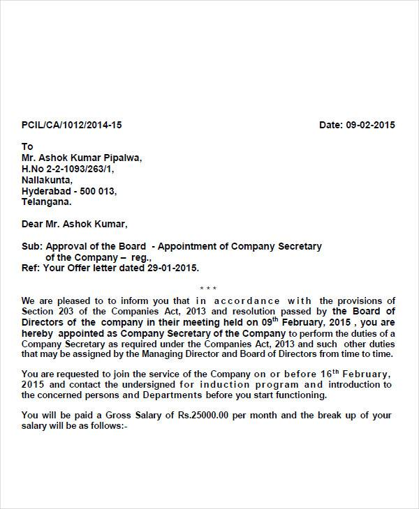 private company appointment letter
