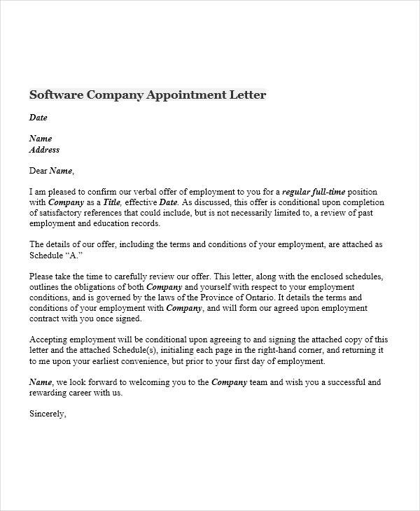 software company appointment letter