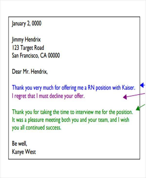 professional job rejection letter