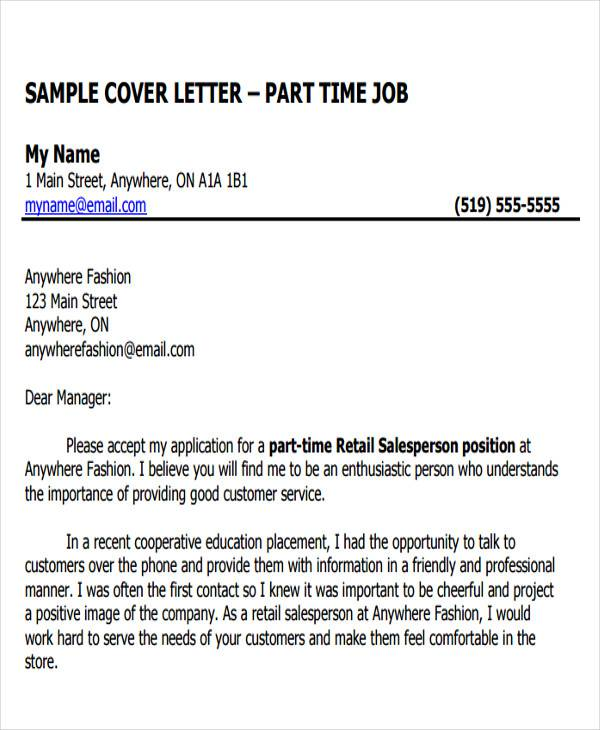 part time job cover letter. Resume Example. Resume CV Cover Letter