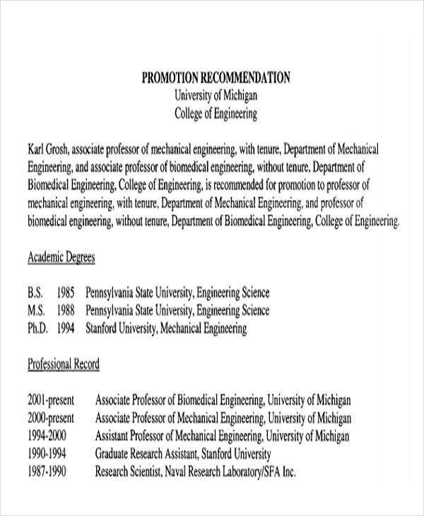 Letter Of Recommendation For Promotion And Tenure Rome
