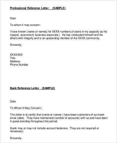 professional reference letter