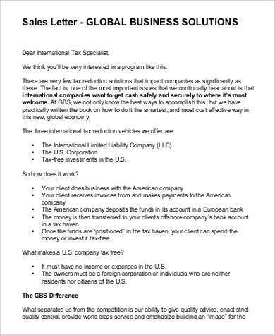 business sales letter