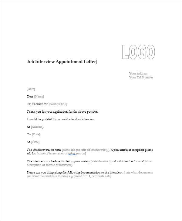 45 appointment letter formats sample templates job interview appointment letter2 spiritdancerdesigns Choice Image