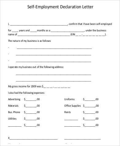 self employment declaration letter