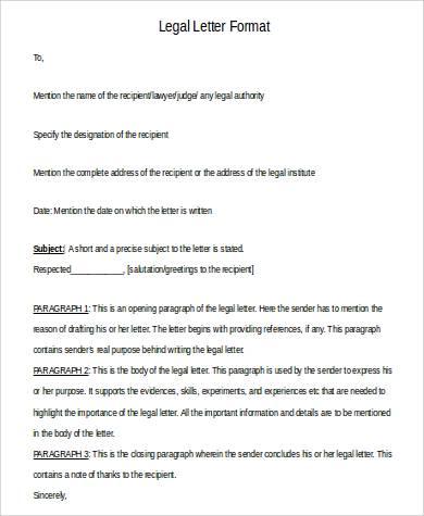 formal legal letter format