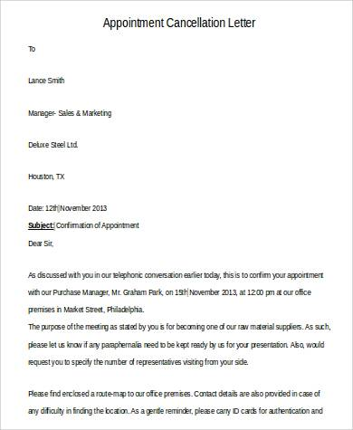 cancellation of appointment letter