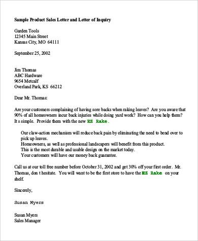 product inquiry letter