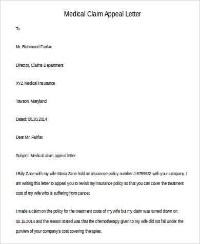 medical claim appeal letter