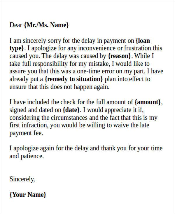 formal business apology letter for late payment